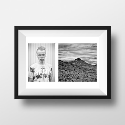 Portrait Paysage Noir et Blanc Horizontale Voyage Islande
